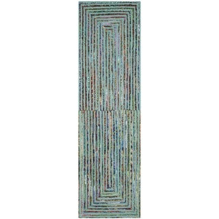 Safavieh Handmade Nantucket Bodhild Contemporary Cotton Rug (23 x 6 Runner - Teal)