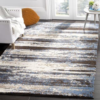 Safavieh Retro Modern Abstract Cream/ Blue Distressed Rug (8' x 8' Square)|https://ak1.ostkcdn.com/images/products/10905658/P17938173.jpg?impolicy=medium