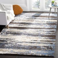 Safavieh Retro Modern Abstract Cream/ Blue Distressed Rug (8' x 8' Square) - 8' x 8'