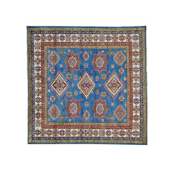 Hand-knotted Pure Wool Square Super Kazak Oriental Rug (6' x 6'1)