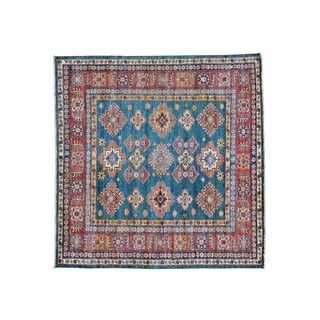 Denim Blue Square Super Kazak Geometric Design Oriental Rug (6' x 6'1)