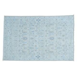 Handmade Silver White Wash Pure Wool Oushak Oriental Rug (6' x 9'2)