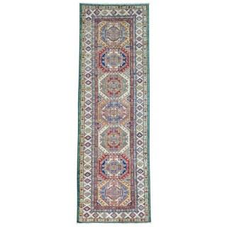 Pure Wool Runner Super Kazak Geometric Design Oriental Rug (2'8 x 8'2)