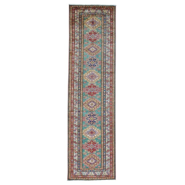 Geometric Design Runner Super Kazak Pure Wool Oriental Rug (2'7 x 9'7) - 2'7 x 9'7