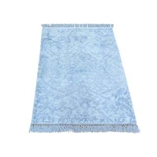 Silver Rayon from Bamboo Silk Handmade Broken Design Oriental Rug (2' x 3')