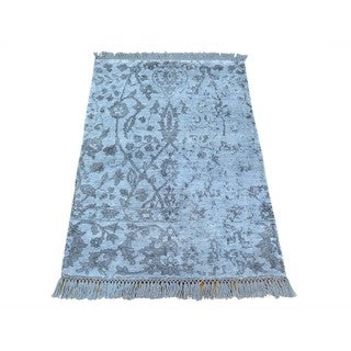 Rayon from Bamboo Silk Hand-knotted Broken Design Oriental Rug (2' x 3')