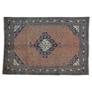 Persian Moud Full Pile Semi Antique Wool and Silk Rug (6'6 x 9'8)