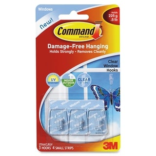 Command Clear Window Hanging Hooks - 3/PK