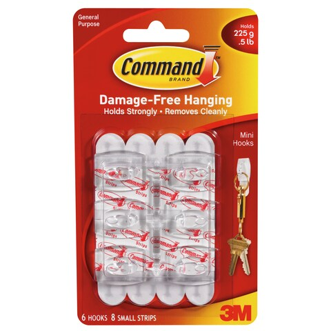 Command Mini Removable Hook - 6/PK