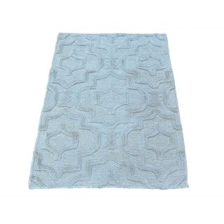Wool and Silk Technique Raised Pile Flat Weave Rug (2' x 2'10)