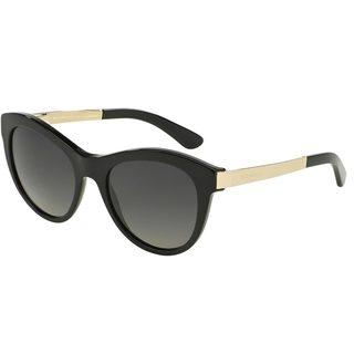 Dolce & Gabbana Women's DG4243 Black Plastic Round Polarized Sunglasses