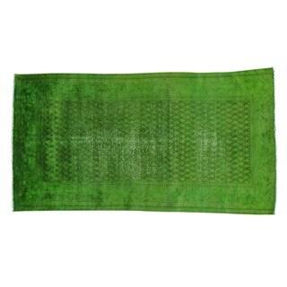 Overdyed Persian Sarouk Mir Light Green Cast Handmade Rug (4' x 7'5)