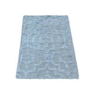 Wool and Silk Raised Pile Flat Weave Rug (2' x 2'10)