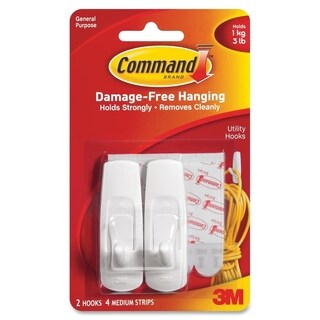 Command Medium Reusable Adhesive Strip Hook - 2/PK