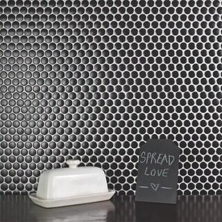 SomerTile 12x12.625-inch Penny Matte Black Porcelain Mosaic Floor and Wall Tile (10 tiles/10.74 sqft.)