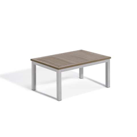 Oxford Garden Travira Coffee Table - Aluminum Frame, Vintage Tekwood Top