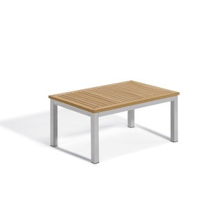 Oxford Garden Travira Coffee Table - Aluminum Frame, Natural Tekwood Top