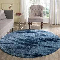 Safavieh Retro Mid-Century Modern Abstract Light Blue/ Blue Rug - 6' Round