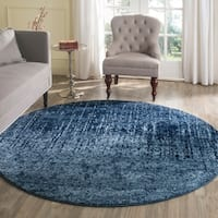 Safavieh Retro Mid-Century Modern Abstract Light Blue/ Blue Distressed Rug - 6' Round
