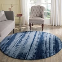 Safavieh Retro Modern Abstract Light Blue/ Blue Distressed Rug (6' x 6' Round)