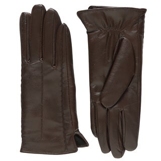 Dasein Women's Winter Warm Fleece Lined Stitches Italian Genuine Leather Lambskin Gloves For Working Driving Riding