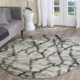 Safavieh Retro Modern Abstract Light Grey/ Black Distressed Rug (6' x 6' Round)