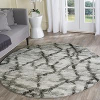Safavieh Retro Modern Abstract Light Grey/ Black Distressed Rug - 6' Round
