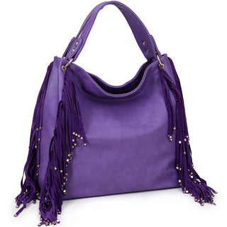 Dasein Fringe Studded Faux Leather Hobo Bag