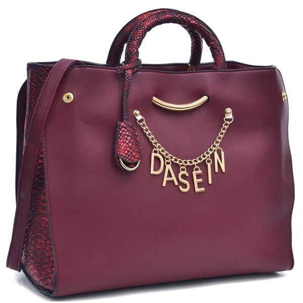 a9263a83f012 Shop Dasein Charm Tote Bag with Embossed Trim - On Sale - Free Shipping  Today - Overstock.com - 10905902