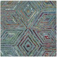 Safavieh Handmade Nantucket Modern Abstract Blue Cotton Rug - 4' Square