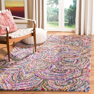 Safavieh Handmade Nantucket Abstract Floral Multicolored Cotton Rug (4' x 4' Square)|https://ak1.ostkcdn.com/images/products/10905916/P17938389.jpg?impolicy=medium