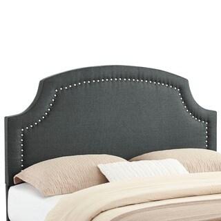 Linon Courtly Dark Grey Linen Headboard - Full / Queen