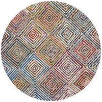 Safavieh Handmade Nantucket Modern Abstract Cream Cotton Rug - 4' Round