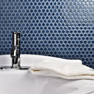 SomerTile 12 x 12.625-inch Penny Denim Blue Porcelain Mosaic Floor and Wall Tile (Pack of 10)