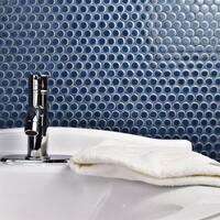 SomerTile 12x12.625-inch Penny Denim Blue Porcelain Mosaic Floor and Wall Tile (10 tiles/10.2 sqft.)