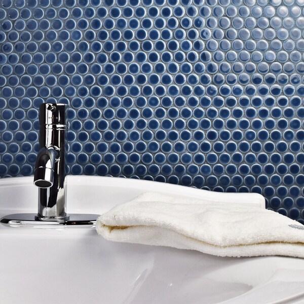 Somertile 12 x penny denim blue porcelain for 12 x 12 blue ceramic floor tile