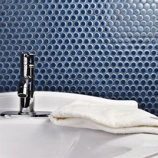 SomerTile 12x12.625-inch Penny Denim Blue Porcelain Mosaic Floor and Wall Tile (10 tiles/10.74 sqft.)
