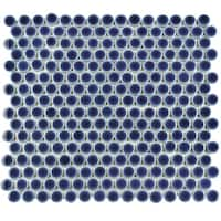 SomerTile 12x12.625-inch Penny Smoky Blue Porcelain Mosaic Floor and Wall Tile (10 tiles/10.74 sqft.)