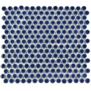 SomerTile 12x12.625-inch Penny Smoky Blue Porcelain Mosaic Floor and Wall Tile (10 tiles/10.2 sqft.)