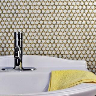 SomerTile 12x12.625-inch Penny Snowcap White Porcelain Mosaic Floor and Wall Tile (10 tiles/10.2 sqft.)