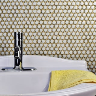 SomerTile 12x12.625-inch Penny Snowcap White Porcelain Mosaic Floor and Wall Tile (10 tiles/10.74 sqft.)