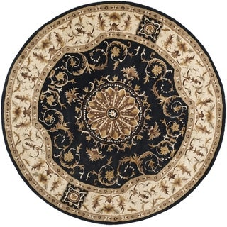 Safavieh Handmade Empire Dani Traditional Oriental Wool Rug (36 x 36 Round - Black/Ivory)