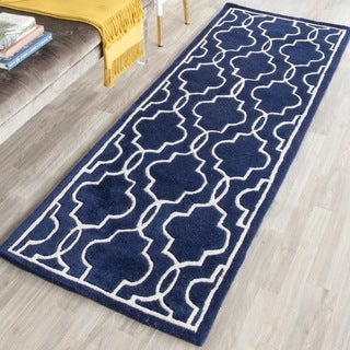 Safavieh Handmade Moroccan Chatham Dark Blue/ Ivory Wool Rug (2'3 x 5')