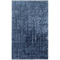 Safavieh Retro Mid-Century Modern Abstract Light Blue/ Blue Distressed Rug - 2'6 x 4'