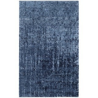 Safavieh Retro Mid-Century Modern Abstract Light Blue/ Blue Distressed Rug (2'6 x 4')