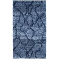 Safavieh Retro Modern Abstract Blue/ Dark Blue Distressed Rug - 2'6 x 4'