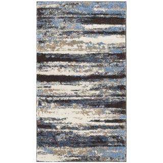 Safavieh Retro Modern Abstract Cream/ Blue Distressed Rug (2'6 x 4')