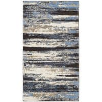 Safavieh Retro Modern Abstract Cream/ Blue Distressed Rug - 2'6 x 4'