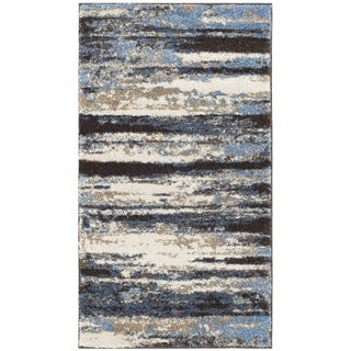 Safavieh Retro Modern Abstract Cream/ Blue Distressed Rug - 2'6 x 4'