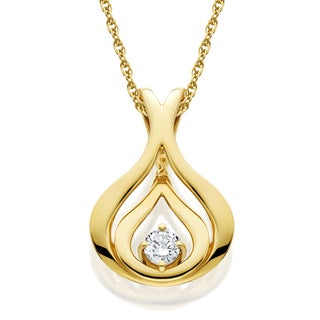 10k White or Yellow Gold 1/10ct Diamond Solitaire Pendant Necklace (I-J/I2-I3)